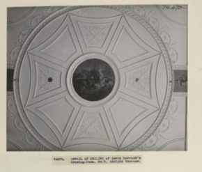 Ceiling; painted plaster; from 5 Adelphi Terrace; designed by Robert Adam (1728 - 92).