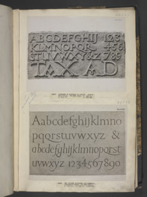 Alphabet of Capitals; Hoptonwood Stone, by Eric Gill (1882 - 1940). photographed in 1931; formerly A.25-1931; A.26-1931; now LOAN:TATE.157-2006; LOAN:TATE.159-2006 ©Victoria & Albert Museum, London