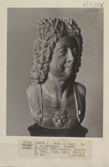 Bust of King George I; ivory; by D.Le Marchand; English 18th century. Negative 65728, (photographed in 1931)