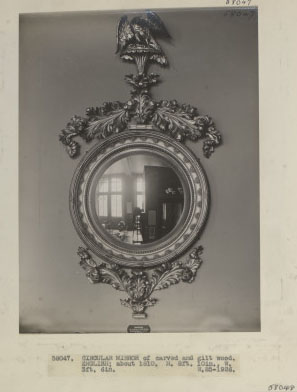 Circular mirror, carved & gilt wood, English; c.1810. W.85-1926, photographed in 1927. Negative 58047.