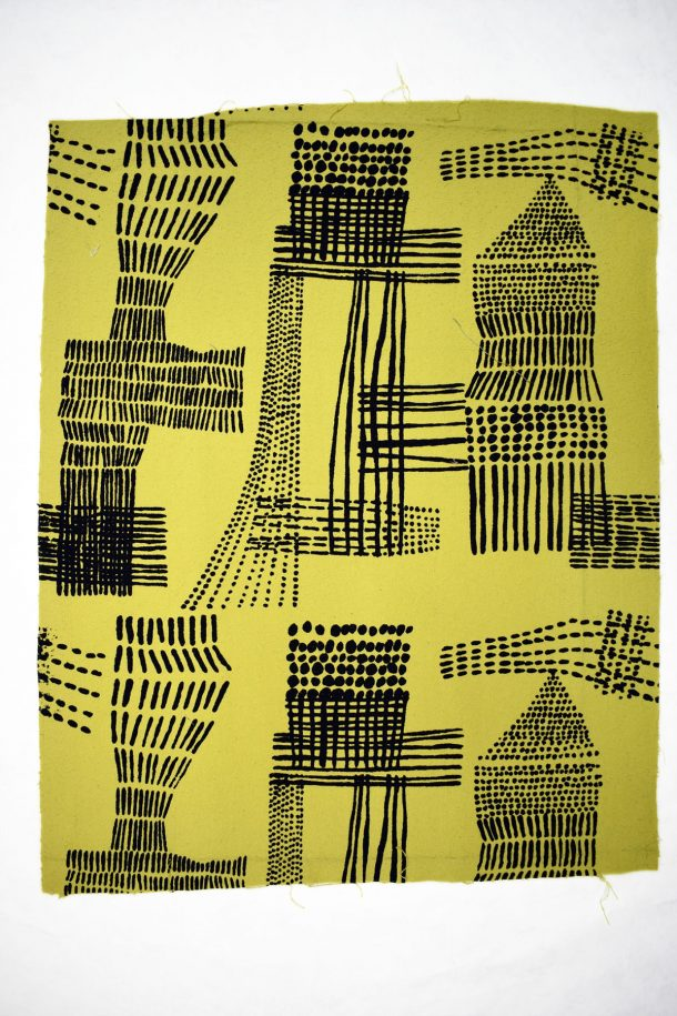 Black and yellow textile designed by Sir Terence Conran