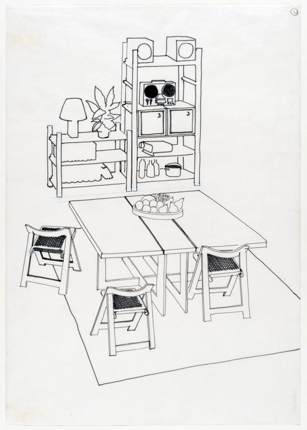 A design for a dining room showing a table, three chairs and storage