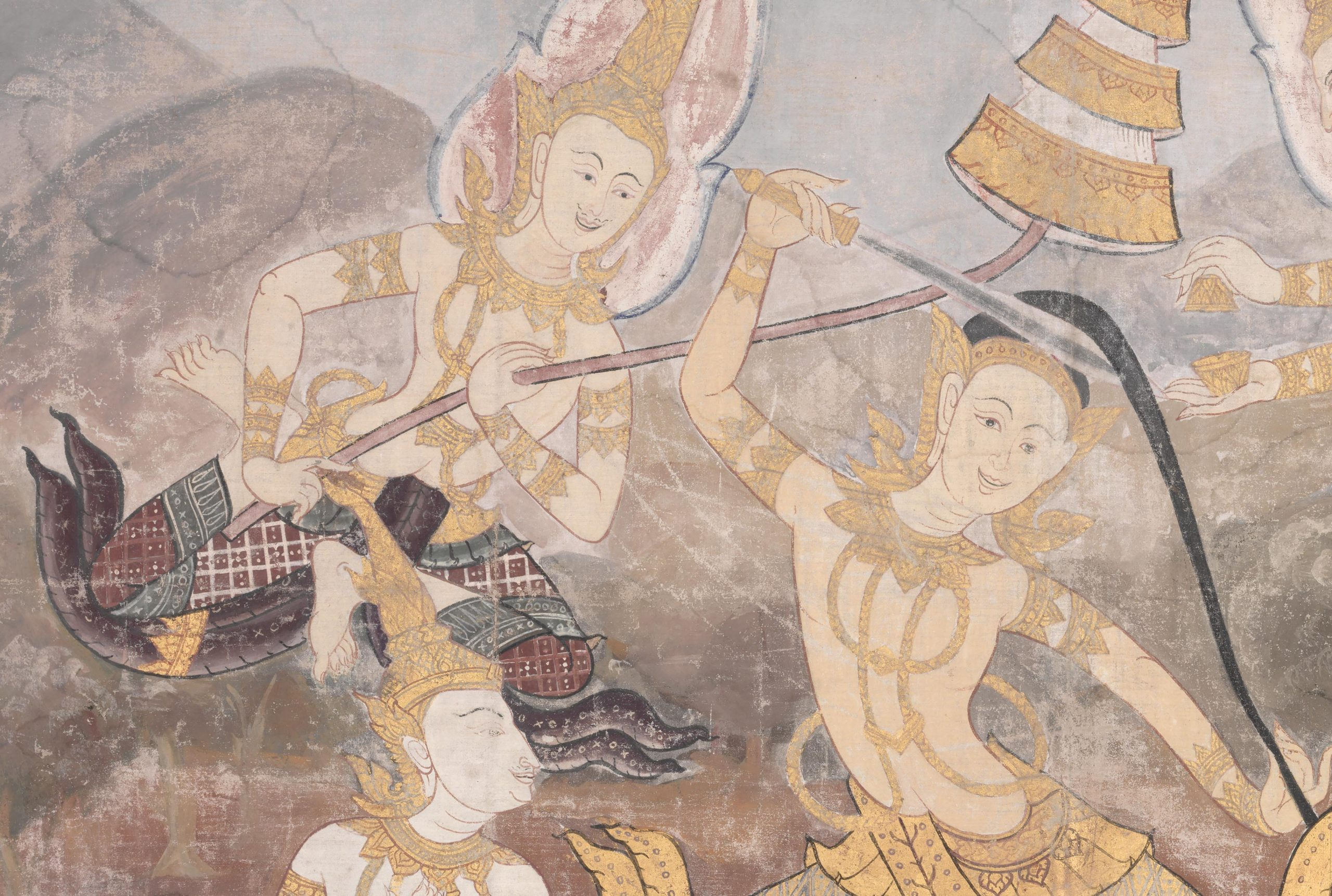 Painting from Thailand showing smiling figures, one with a sword