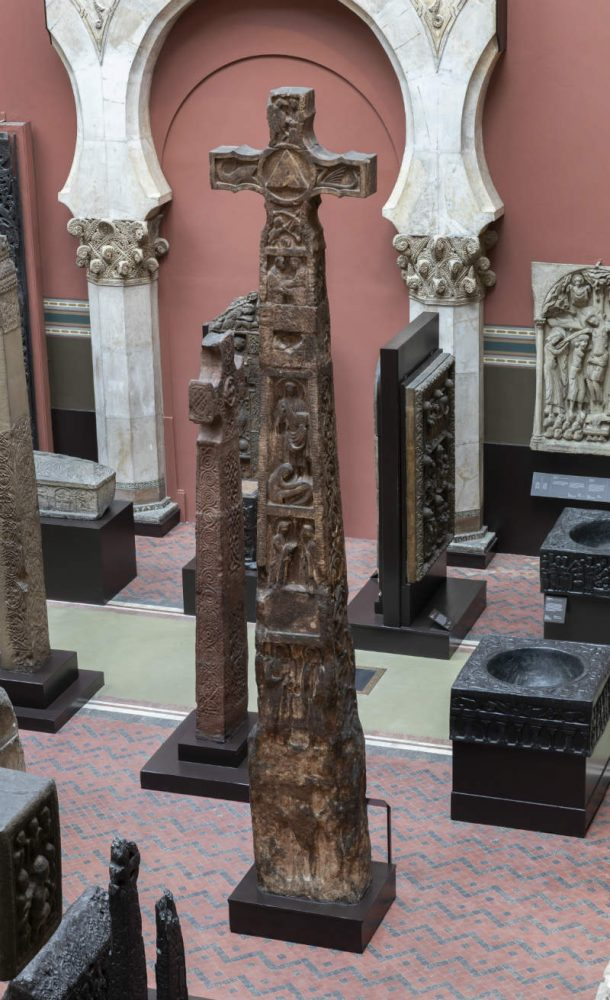 Cast of the Ruthwell Cross after conservation treatment. Image, Peter Kelleher © Victoria and Albert Museum, London.
