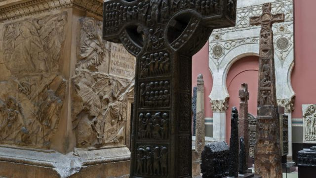 The crosses are displayed next to a gigantic copy of the Trajan's Column from Rome. Image © Victoria and Albert Museum, London
