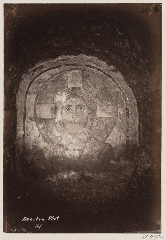 Photograph of a painting of Christ in the Catacomb of S. Pontianus, Rome