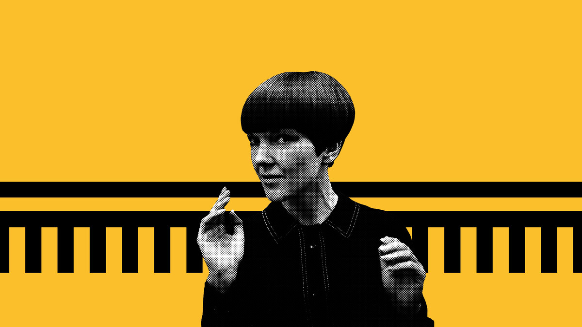 Mary Quant photo in black and white against a yellow and black background.