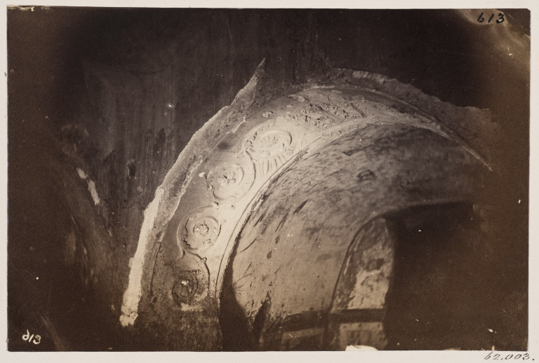 Photograph by Charles Smeaton of stucco ornament in a chapel in the Catacomb of S. Priscilla, Rome