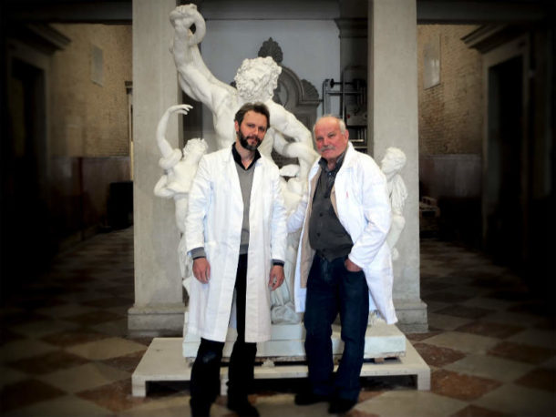 Romolo and Andrea Felice, Mould Makers owners of FeliceCalchi - plaster casts & sculptures, Rome. Image, Andrea Felice 2017.