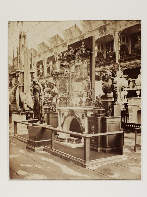 Albumen print of Elkington & Co. exhibition stand at the Paris Universal Exhibition, 1855