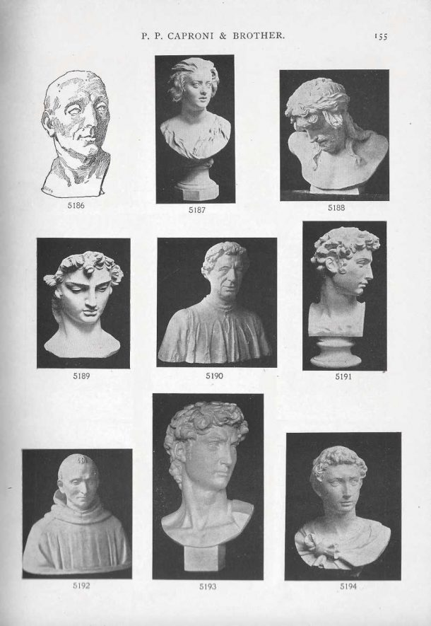 Page from the 1901 catalog showing the David head. Courtesy of the Giust Gallery.