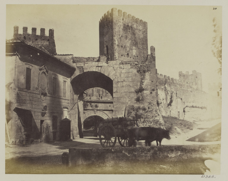 Photograph of the Porta Tiburtina, The Arch of Augustus and the inner Arch of Honorius, Rome