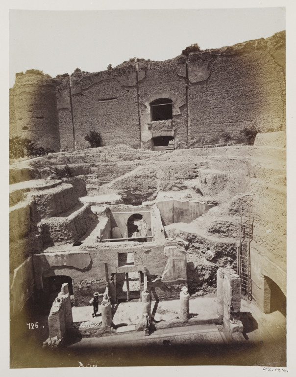 Photograph showing the 1869 excavation of the private house of the Emperor Hadrian