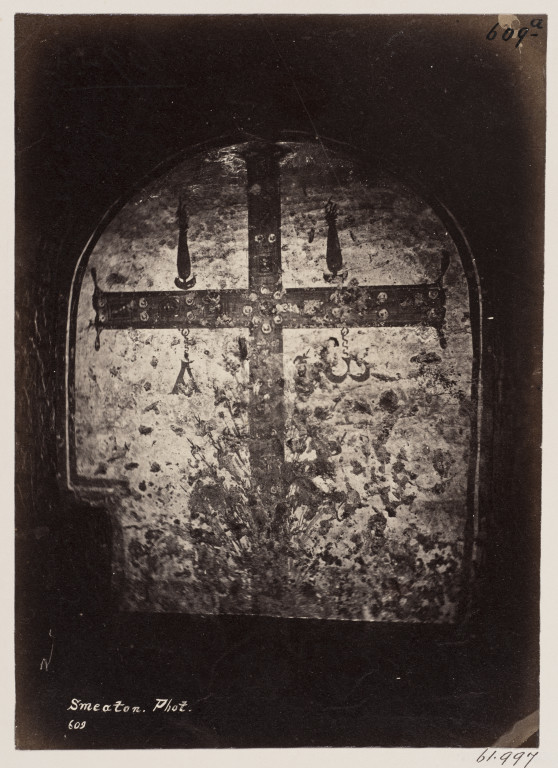 Photograph by Charles Smeaton of a painting of a jewelled cross in the Catacomb of S. Pontianus, Rome