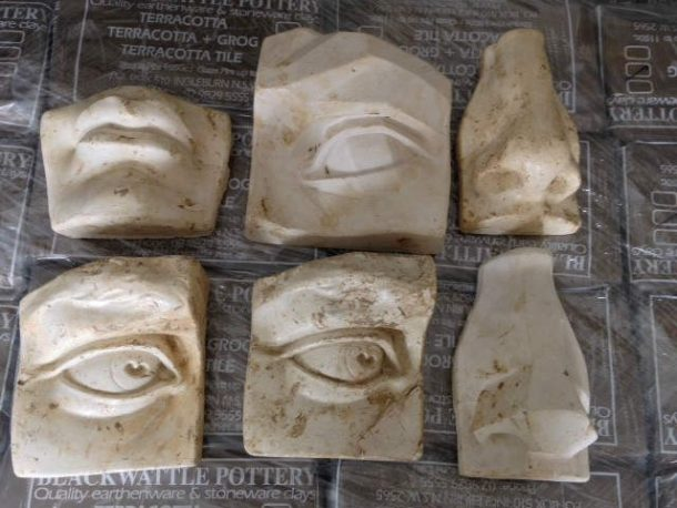 David's eyes, mouth and nose. NAS Sculpture Department casts.