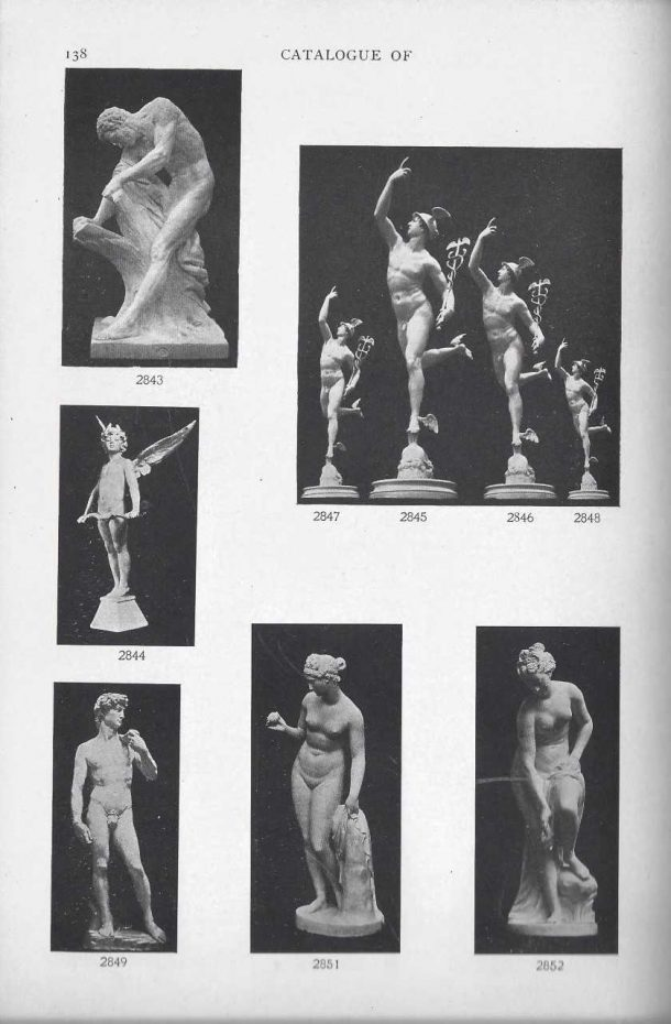 Page from the 1901 catalog showing the David reduction. Courtesy of the Giust Gallery.