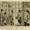 Satirical print, seven men standing in front of the window of Darly's print shop looking at his caricature publications in the window. 14 July 1772 Etching  © The Trustees of the British Museum