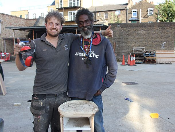 Michael and mentor Alex Brooke with their stool