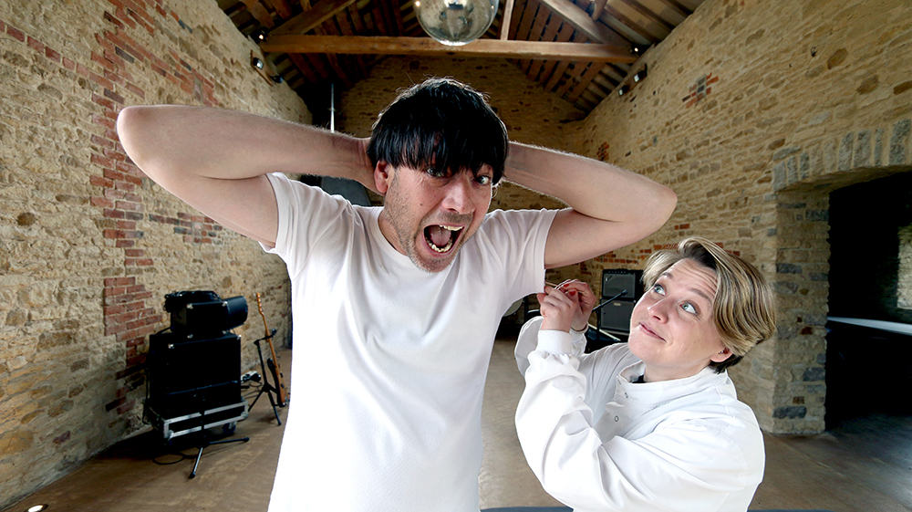 Bacteria being taken from musician and cheesemaker Alex James (Blur)