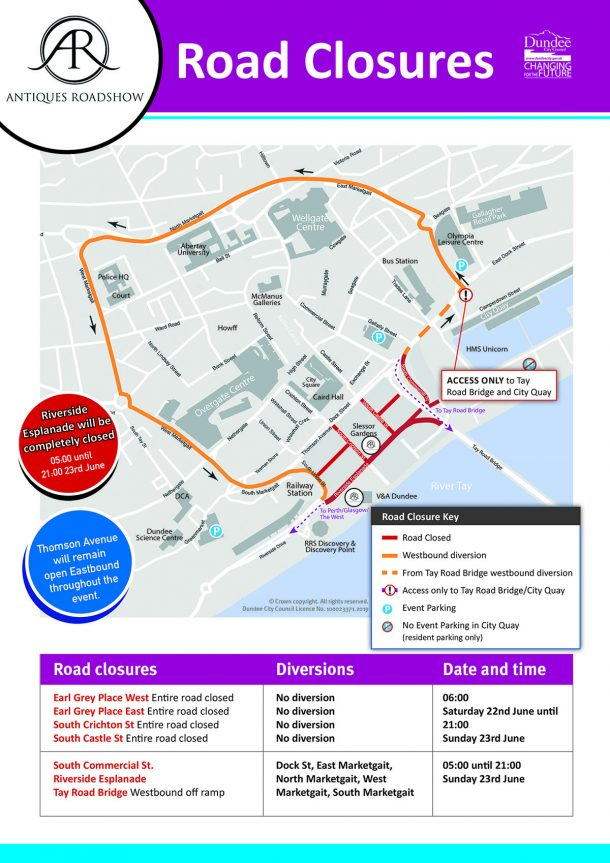 Map of Dundee showing road closures as explained in the copy of this post.