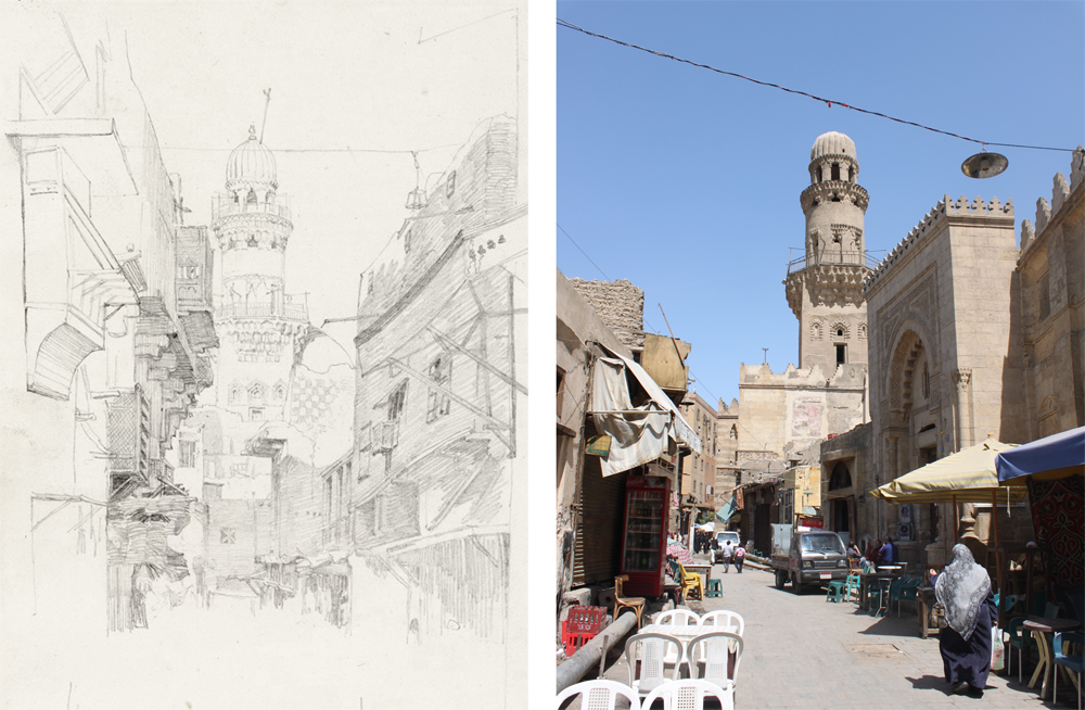 Dadd's sketch of al-Gamaliyya street, compared with a modern view