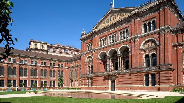 Photograph of outside of V&A building, taken from the John Madejski Garden