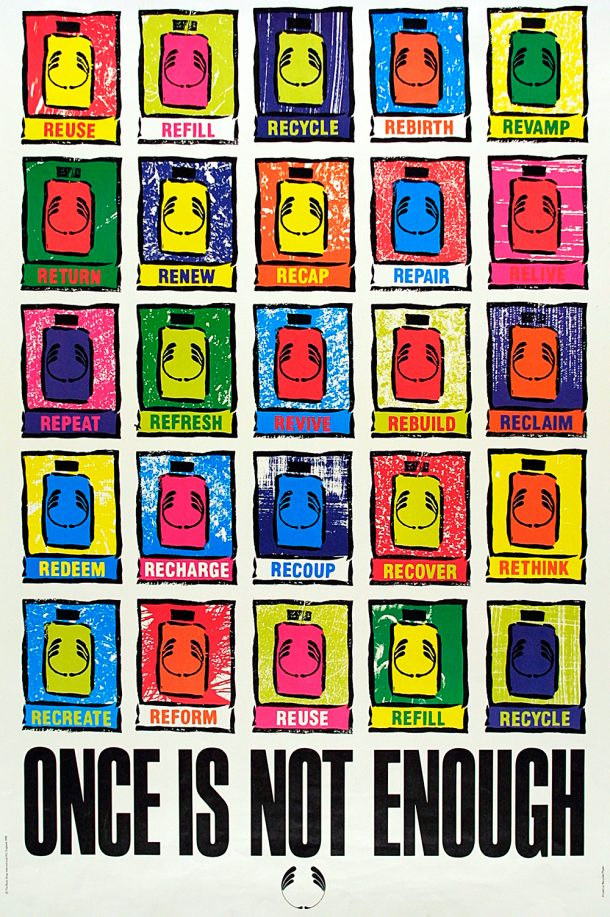 Poster featuring brightly coloured bodyshop bottles, with the statement 'ONCE IS NOT ENOUGH' in bold at the bottom
