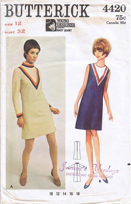 Butterick 4420 dress design pattern; ca. 1967; Young Designer: Mary Quant - One-Piece Dress. Slightly A-line dress has V-shaped inset with contrast banding.