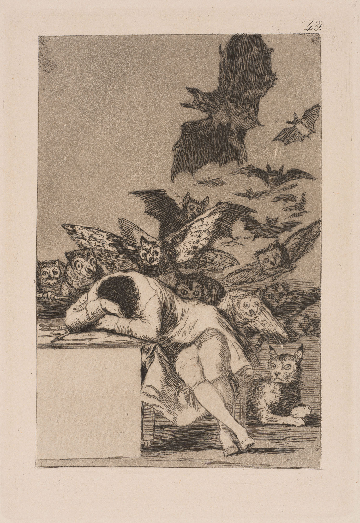 El sueño de la razón produce monstruos (The Sleep of Reason Produces Monsters), Francisco de Goya, 1799. Museum number CIRC.635-1966. © Victoria and Albert Museum. Goya's commentary as included in the Circulation Department's label: 'Imagination abandoned by Reason produces impossible monsters: united with her, she is the mother of the arts and the source of their wonders'