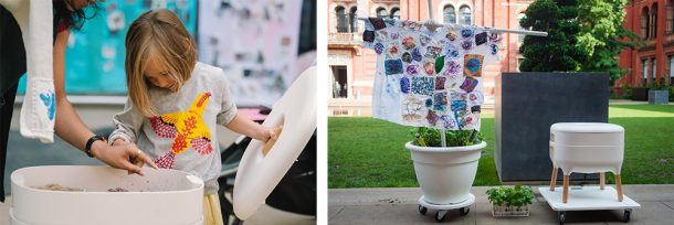 Composite image of a girl feeding worms, and a fabric flag in the garden.