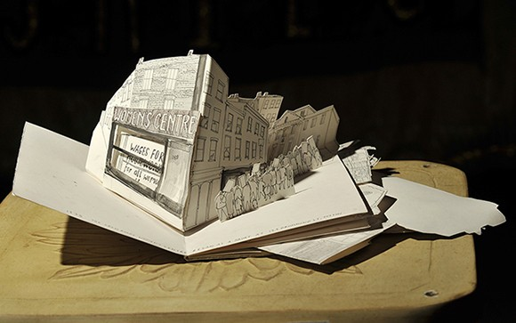 Pop-up book about Crossroads Women's centre