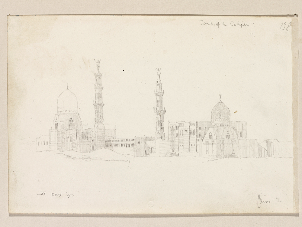 Sketch of funerary complexes in Cairo, Egypt.