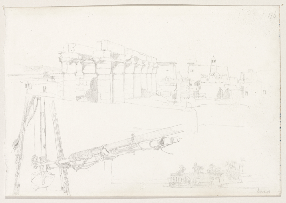 Sketches of the Temples at Luxor and the rigging of a boat