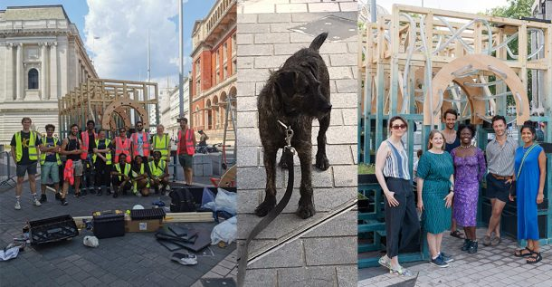 Composite images showing installations and the teams involved. In the centre is an image of a black dog called Harry.