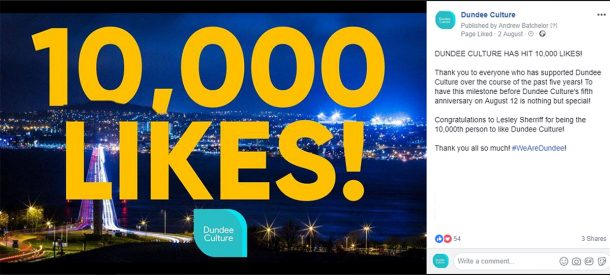 screenshot of a facebook post announcing Dundee Culture has reached 10,000 likes.