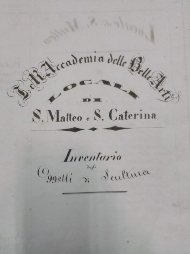 Figure 1b. ABAFi, Inventario degli Oggetti di Scultura from 1848 to 1870. Frontispiece. Photos by Eugenio Cecioni, 2017.