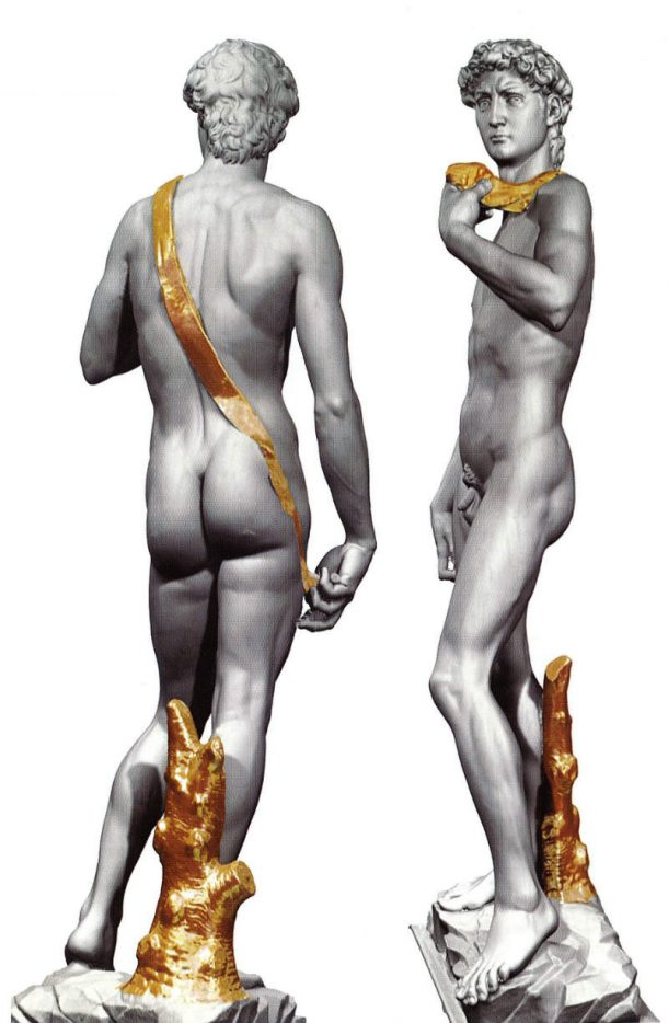 Fig 2. Hypothetical virtual reconstruction of the gilding on the David in 1504 (digital elaboration by Artmedia Studio, Florence). Image courtesy of the Artmedia Studio, Florence.