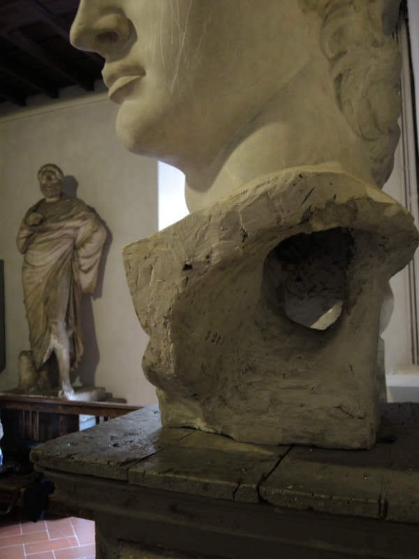 Figure 3. Detail of the hollow cast of the head of David with documentary inscriptions Accademia di Belle Arti, Florence. Photo by Domenico Viggiano.