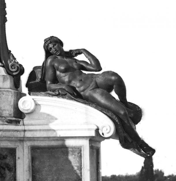 Bronze copy of Michelangelo's Dawn by Clemente Papi. Part of the Monument to Michelangelo in Piazzale Michelangelo in Florence since 1875. The original marble Dawn (1524-1527) is on the tomb of Lorenzo,. Duke of Urbino in the New Sacristy, Church of S. Lorenzo (Gabinetto Fotografico degli Uffizi, detail of Figure 10).