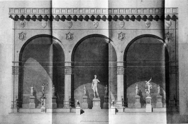 'The Loggia dei Lanzi with Michelangelo's David at the centre', by Pasquale Poccianti. Firenze, Archivio di Stato, Appendice Segreteria di Gabinetto, F. 121, dossier 18 (published in: Anglani 1997, p.29, Fig.1).
