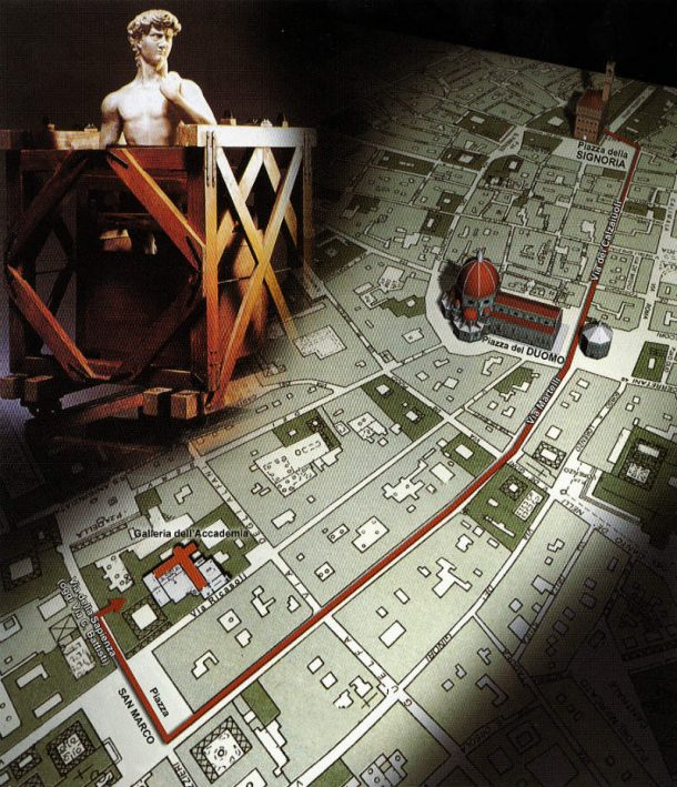 Fig. 6. Hypothetical virtual reconstruction of the route taken to transfer the David from Piazza della Signoria to the Galleria dell'Accademia in 1873 (digital elaboration by Artmedia Studio, Florence). Image, courtesy of Artmedia Studio, Florence.