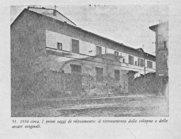 Figure 8. The facade of Accademia di Belle Arti in 1934 ca., with the early surveys for the restoration of the arcades, which had been closed since 1784. (Courtesy of the Accademia di Belle Arti di Firenze).