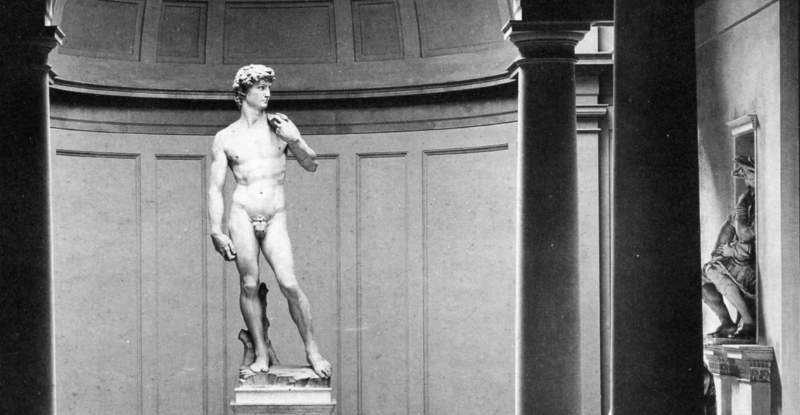 Michelangelo's David in the Tribuna of the Academy of Fine Arts, post 1903 – ante 1909. Note the plaster cast of the Head displayed on the right-hand side (Alinari Archives, published in L'Accademia, Michelangelo, l'Ottocento, cit., p.46, detail).