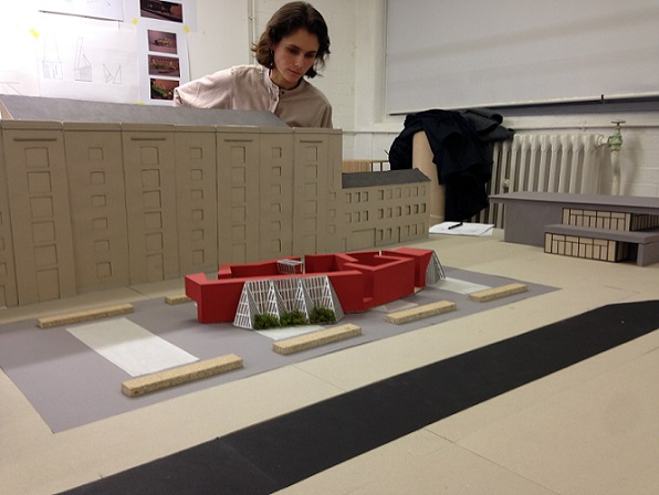 Fig 2: Group Site Model of Granary Square, King's Cross. Kingston School of Art, Department of Architecture and Landscape, BA Studio F.