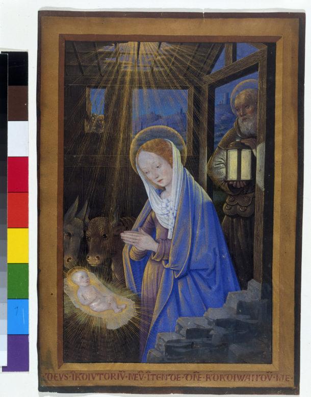 Figure 1. The Nativity by Jean Bourdichon (1499), E.949-2003 © Victoria and Albert Museum.