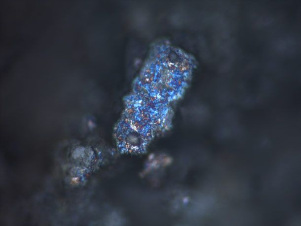 Figure 5. A large particle of metallic bismuth, with its beautiful blue iridescence, viewed under a microscope. Photography by Lucia Burgio © Victoria and Albert Museum.