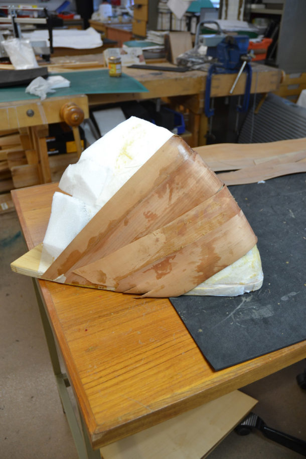 Veneers laid onto the Plastazote mould