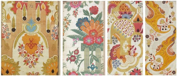 Leman designs no. 81, 19, 80, 89, from left to right: many of them contain bright orange details © The Victoria and Albert Museum.