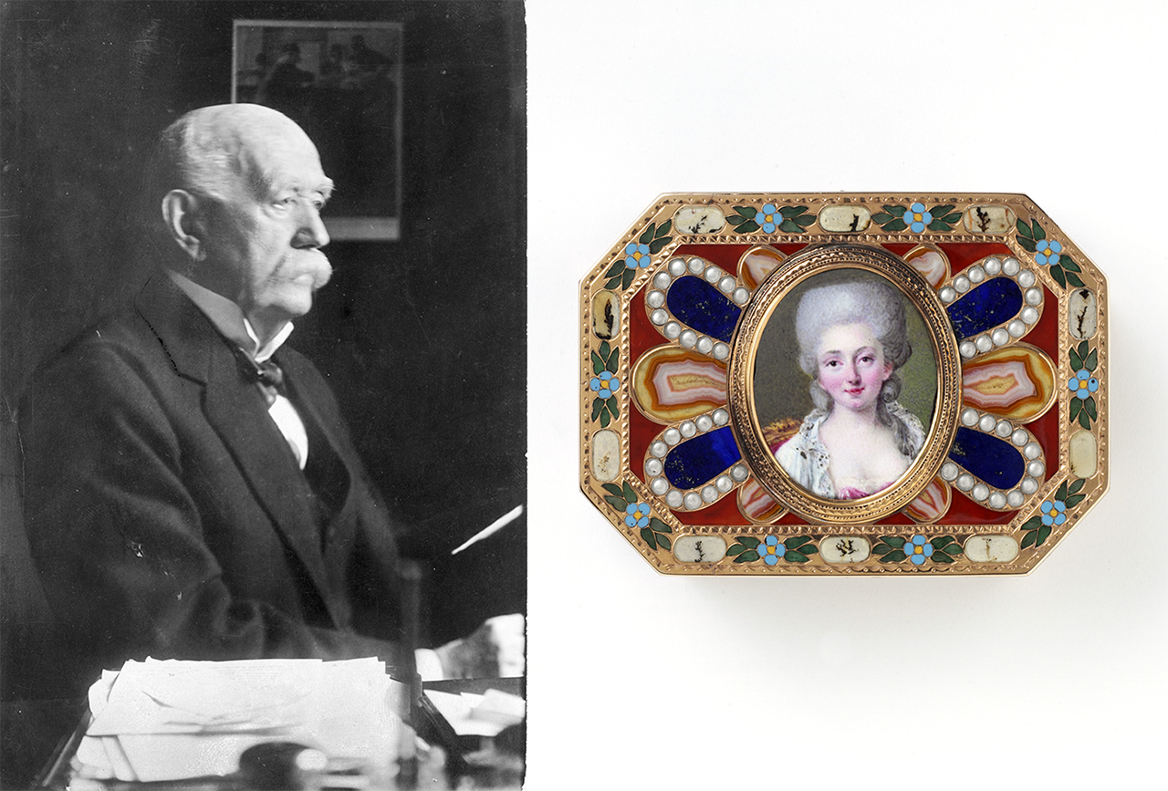 Portrait of Eugen Gutmann and Snuffbox with portrait of a lady.