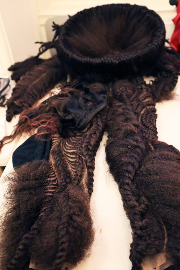 Hair garment during the making process.
